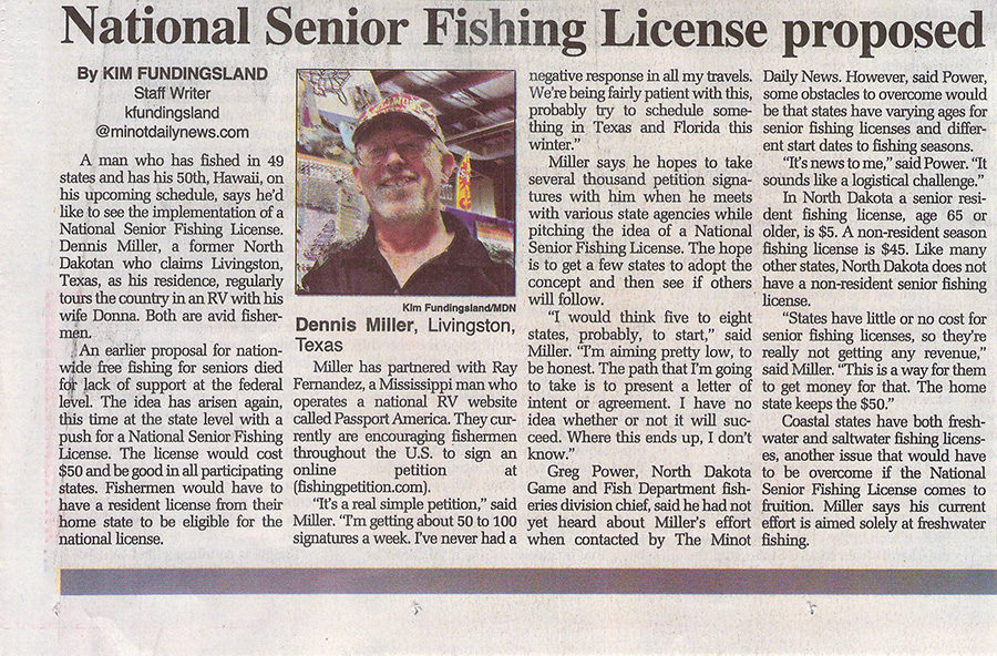 Minot Daily News Fishing Petition Article